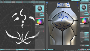 Blender2.8でテクスチャを描きやすいUV展開のやり方:鎧の模様をペイント