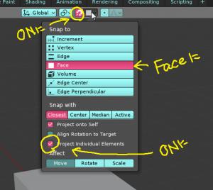 Blenderでリトポロジーの時に効率が上がるスナップ機能の便利な小技