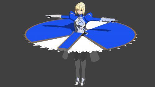 Fateセイバー 3Dモデル原型